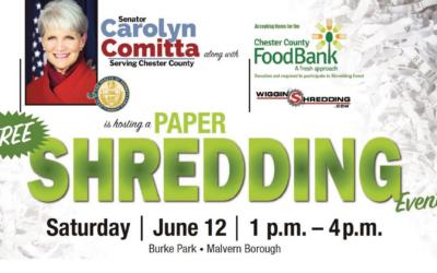 Sen. Comitta to Hold Free Shredding Event June 12 in Malvern
